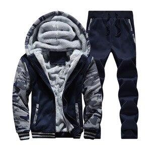 Брендовый зимний мужской спортивный костюм, мужской флисовый костюм с капюшоном, мужской костюм с толстовкой, 4xl 5xl, плотный повседневный ко...