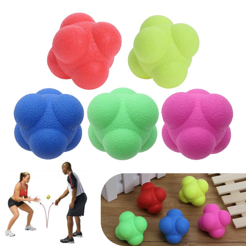 Outdoor Fun Hexagonal Ball Toy Sports Gym Fitness Hexagonal Reaction Ball Tennis Baseball Fast Speed Rubber
