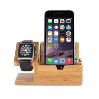 New Wood Bamboo Original Stand Charging Dock Station Bracket Accessories IPhone 4 And Watch