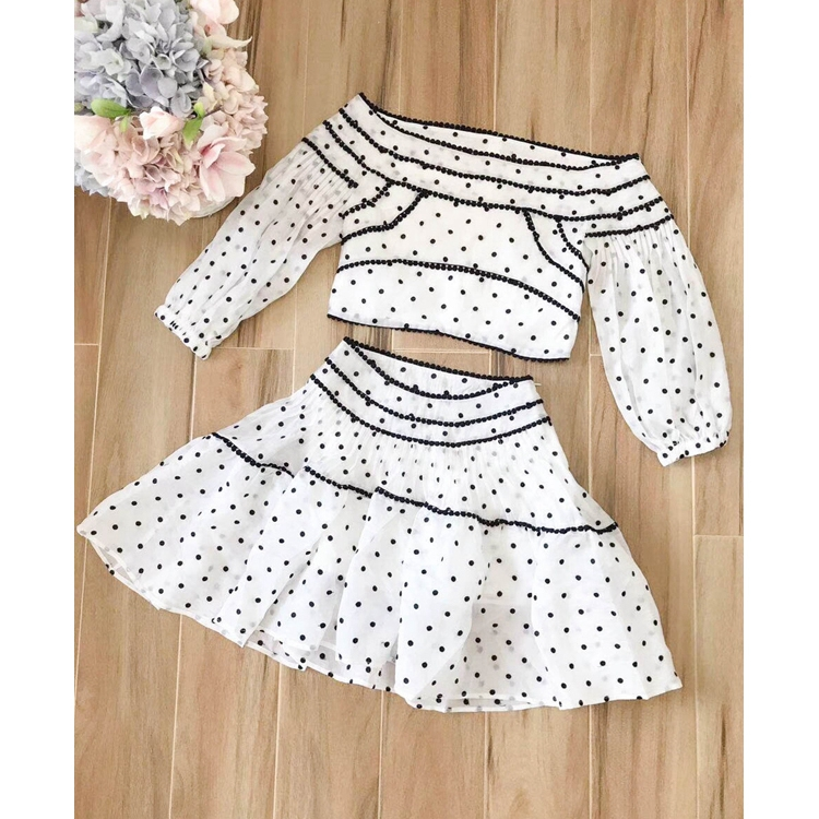 Summer Runway Designer Dresses 2018 Womens Sexy Off Shoulder Lantern Sleeve White Polka Dot Embroidery Dress two piece drss