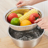 2 PCS Stainless steel sink drain sink set wash basin wash two sets of washing rice sieve