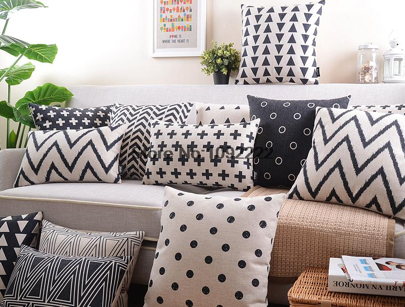 Nordic Style Cushion Cover Decorative Pillows Case Gray Cushion Cover Home Decor Geometric black and white pillow cover 45x45cm