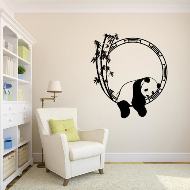 2018 Sleeping Panda Bamboo Wall Sticker Pvc Removable Animal Tattoo