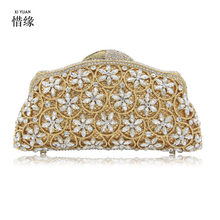 XIYUAN BRAND wedding Crown evening bag for bride party prom evening bag for College Students cocktail Bridesmaids clutch purse(China)