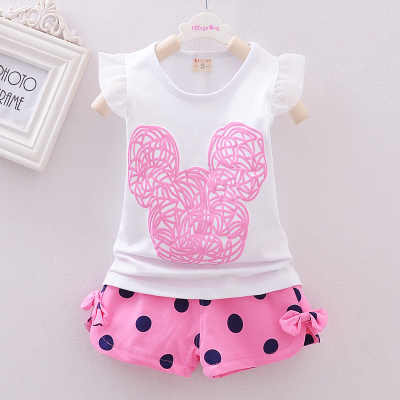 Summer Cotton 2PCS Set Newborn Baby Girl Clothes Flying Sleeve Vest+Polka Dot Shorts Baby Girl Outfits Kids Bebes Suits