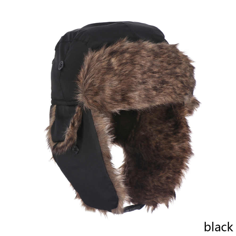 1f336866 Winter Adult Men Pilot Trapper Cap Trooper Earflap Warm Russian Ski Snow  Hat Faux Rabbit Fur