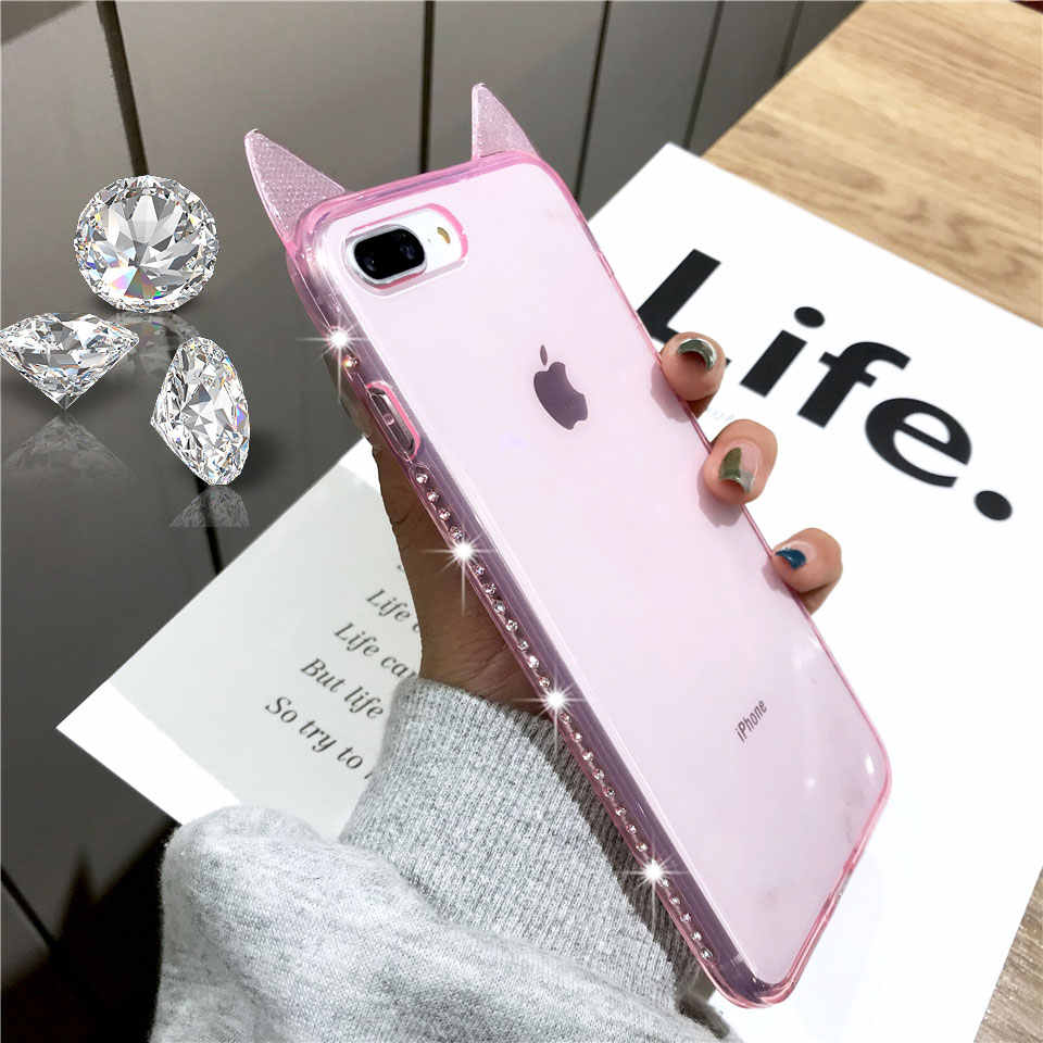 Cut Cartoon Cat Ears Texture Diamond TPU Silicone Case For iphone 7 Plus XS MAX XR 6 6s 8 X Case Glitter Cover Bling Phone Cases