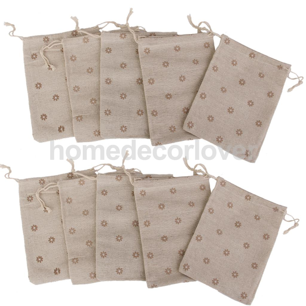 10 Linen Jute Sack Jewelry Drawstring Gift Bags Wedding Favor Coffee ...