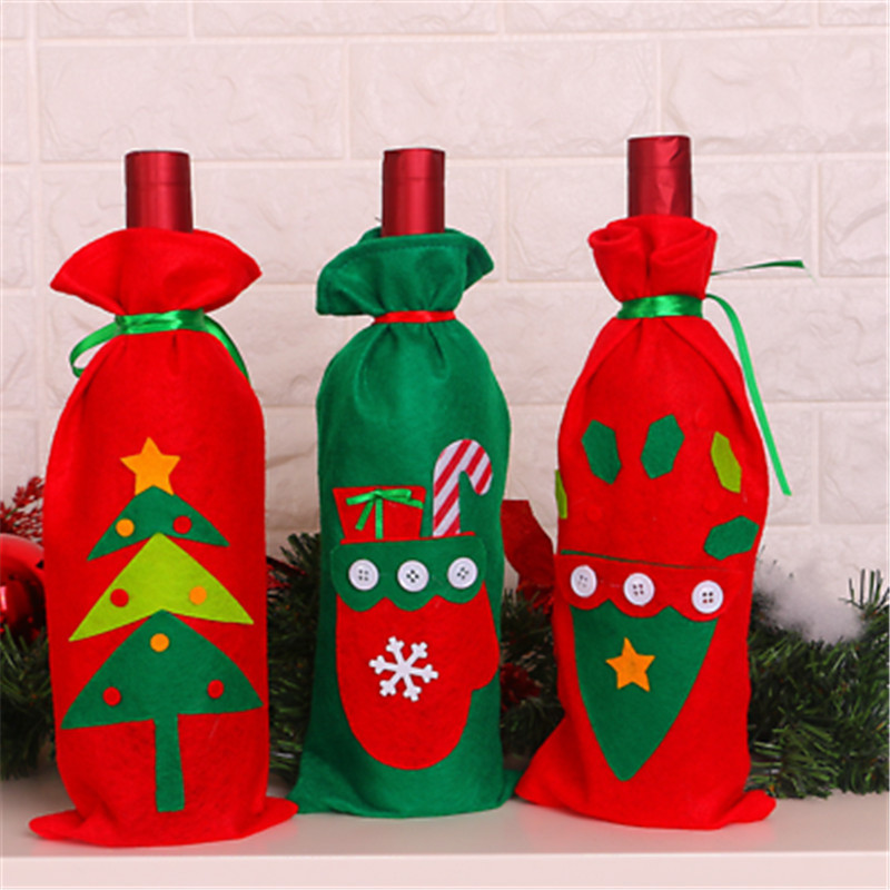 New Merry Christmas Santa Wine Bottle Bag Cover Xmas Dinner Party Table Decor Christmas Bags Gift