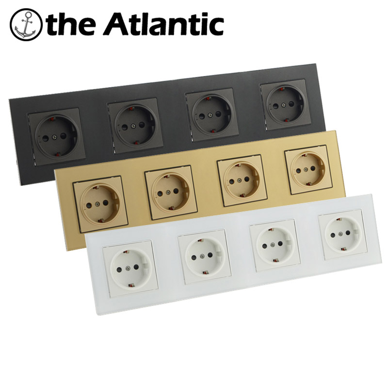 Atlantic EU/DE/RU Quadruple 4 Socket Crystal Glass Wall Plug Socket Tempered Crystal Glass Panel 110-250V Wall Power Socket atlantic switch tempered glass phone tv socket model luxury crystal glass panel weak current socket telephone television outlet