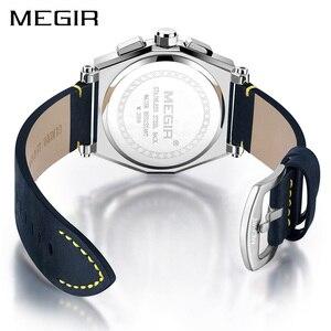 Image 2 - MEGIR niebieski kwarc mężczyźni zegarki Top marka skórzany z chronografem na pasku Sport Wrist Watch mężczyźni zegar Relogio Masculino Reloj Hombre