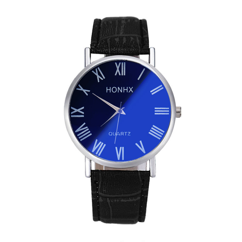 Excellent Quality Vintage Business Watch Mens Fashion Quartz Clock Leather Strap Wristwatch Relogio Masculino <font><b>Blu-ray</b></font> Mirror