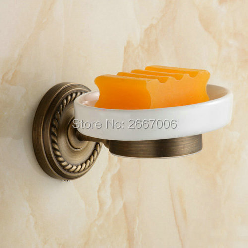 Free shipping Toilet Vanity Bathroom Accessories Soap Dish Wall Mount Antique Copper Brass Retro Soap Holder With Ceramic ZR2601