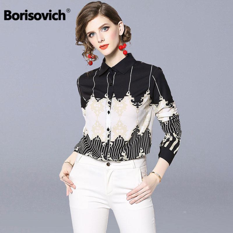 Borisovich Office Lady Elegant   Shirt   New Brand 2019 Spring Fashion Print Turn-down Collar Women Casual   Blouses     Shirts   N642