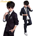 2015 New Boys Formal Suits for Weddings Brand England Style 6-14T Man Child Plaid Formal Party Tuxedos Boys Formal Suits, YC085