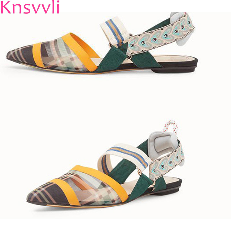все цены на Knsvvli autumn mixed color mesh flat heel shoes women 2018 new style summer sandals for women pointed toe fashion embroidery онлайн