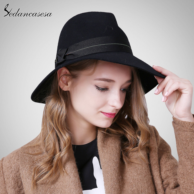 Sedancasesa Autumn Winter England Style Vintage 100% Australian Wool Woman  Fedora Hat Felt Caps with Handmade Bow Female Fedoras a9efed8d0ff4