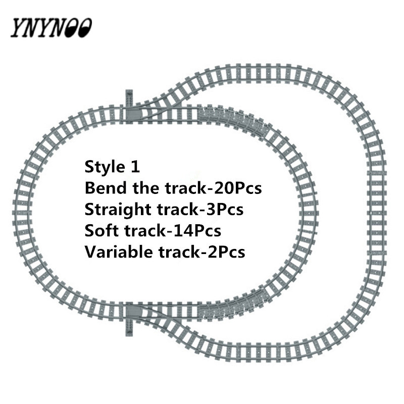 YNYNOO Building Blocks Toys for Children Rail Tracks for Train Straight & Curved & furcal & soft Tracks Blocks Accessories singdio train track big building blocks carriage cross straight curved furcal rail kids educational toys compatible with duplo