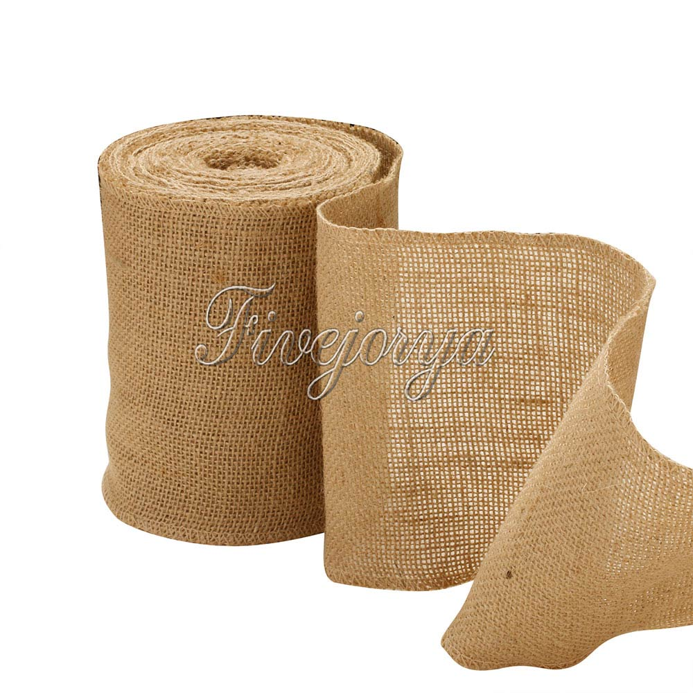 10M 15CM Vintage Jute Burlap Roll Lace Hessian Table Runner Wedding Party Chair Bands Sash Banquet