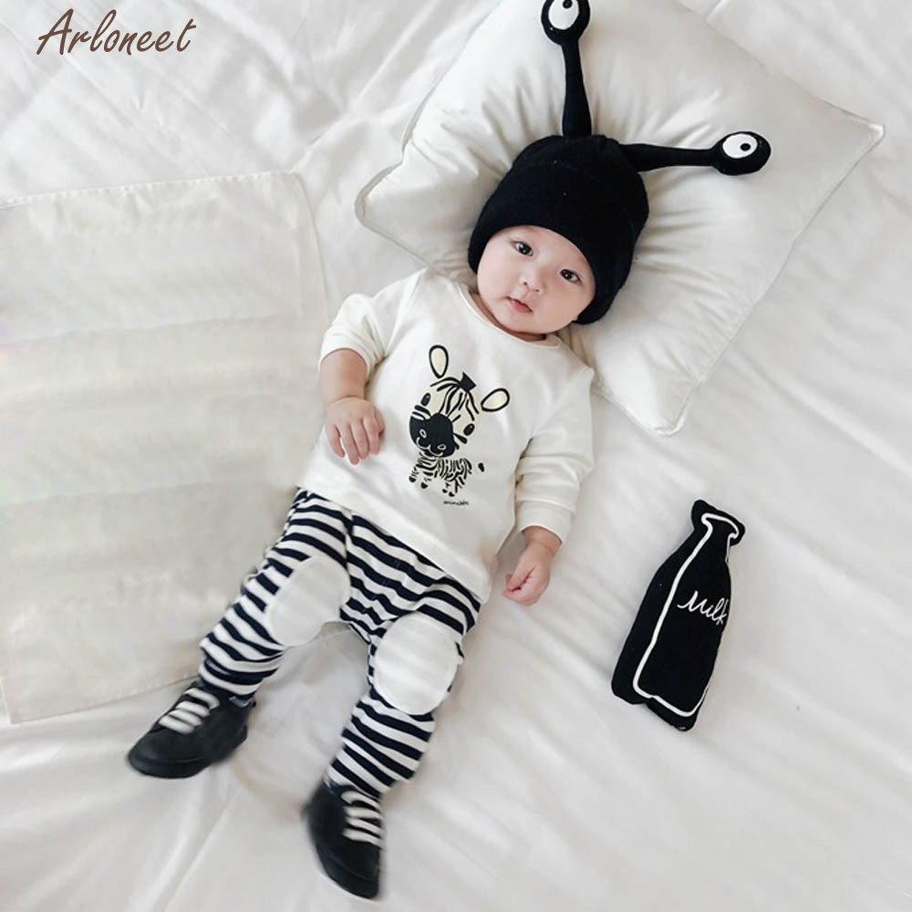 TELOTUNY Baby Girl Clothes Newborn Kid Baby Girls Boys Outfits Clothes Cartoon Print T-Shirt Tops+Pants Set Y120530