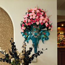 European style retro wall decoration Vase Set Home Furnishing wall mural elephant head pendant Pendant