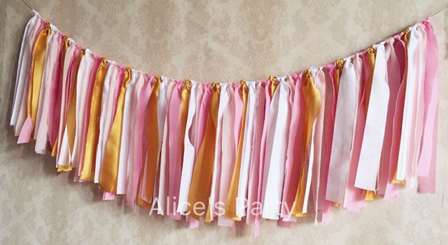 Handmade White Pink Gold Banner Baby Girl Highchair Bunting Kids