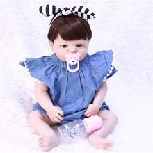 55cm Full Silicone Vinyl girl Body Reborn Baby Doll Toy For children gift Newborn Denim Wear Princess Babies Bebe Bathe Toy