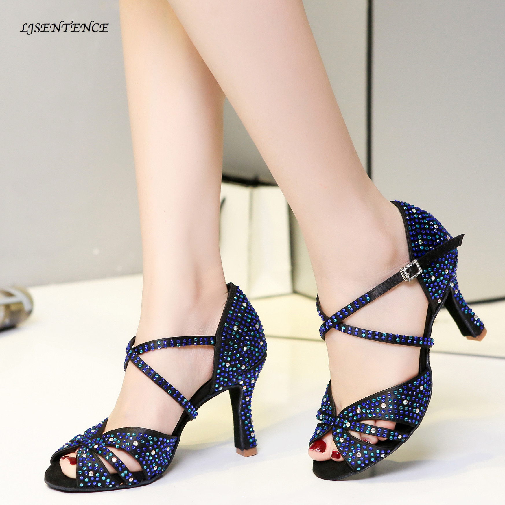 LJSENTENCE Latest Latin Dance Shoes Women Rhinestone Salsa Glitter Ballroom Sandals With Shine Blue Color Height Dance Heels