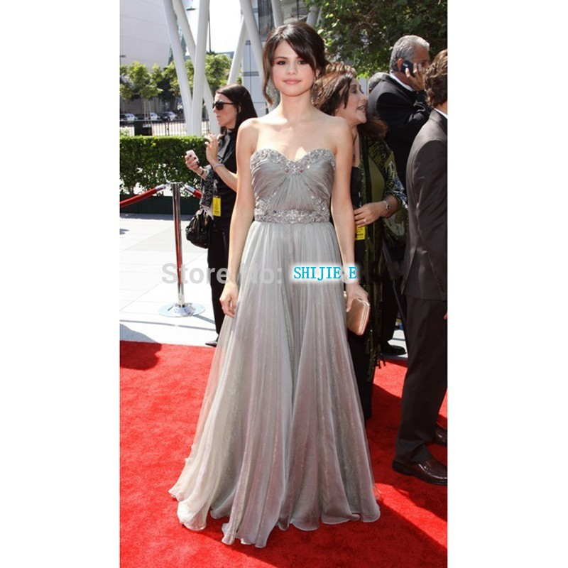 Selena Gomez Creative Arts Emmy's A-line Sweetheart Beads Sequin Long Grey Evening Red Carpet Celebrity Dress 2015 Fashion CE500(China)