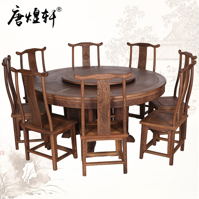 Mahogany Furniture, Large Dinette Combination Of Wenge Wood Round Table  With Chinese Wood Table Round
