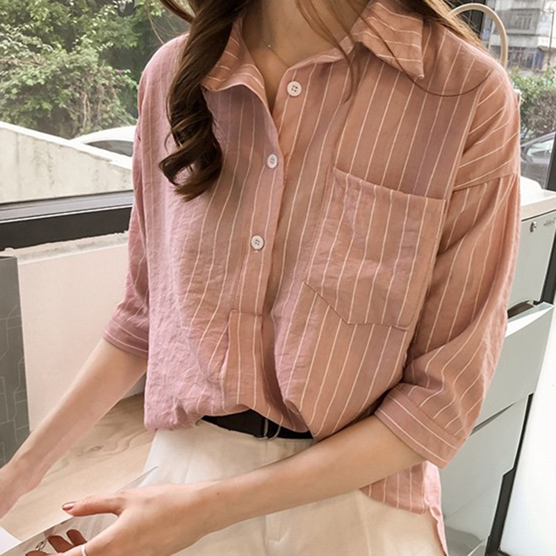 Womens Tops Spring Striped Shirt Turn down Collar Three Quarter Sleeve Blouse Woman Korean Clothes blusas mujer de moda 2019 in Blouses amp Shirts from Women 39 s Clothing
