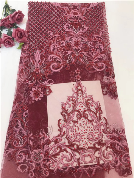 Nigeria's new design lace beading fabric, French chiffon lace embroidery dress