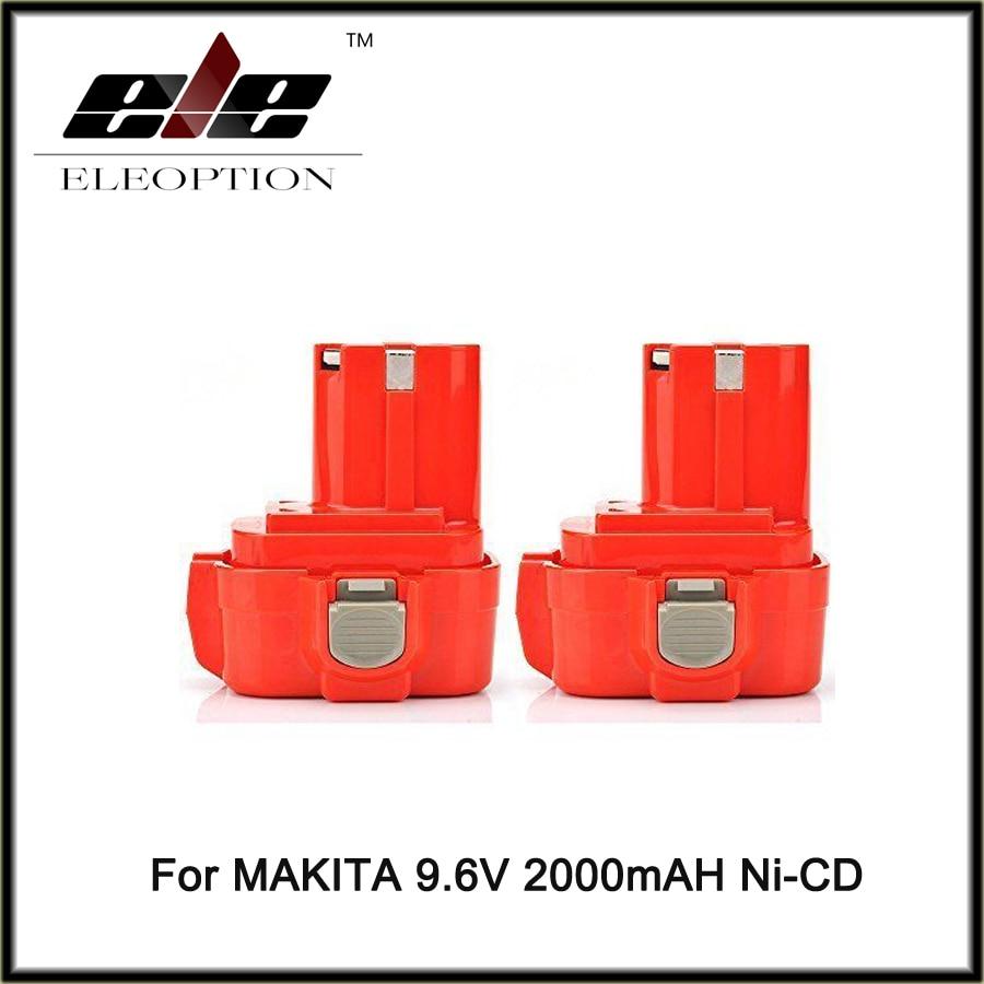 Eleoption 2 pièces 9.6 v 2000 mah Ni-cd Batterie Rechargeable pour MAKITA 9100 9101 9102 Puissance outil Livraison Gratuite