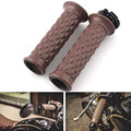 Brown 7/8'' Handlebar Hand Grip W/ Open Bar for Honda Suzuki Kawasaki Triumph Royal Enfield Cafe Racer Bobber Clubman Custom