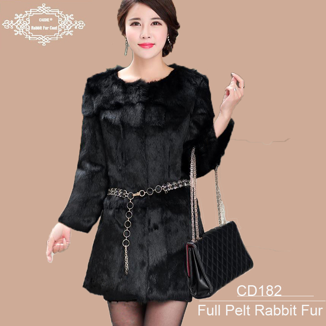 Wholesale 2015 New  Genuine Rabbit Fur Coat Long Full pelt  WomenThick Winter Warm Fur Coats Long Fur Clothing  Plus size