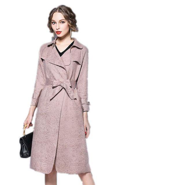 3 Colores de Moda Trench Coat Mujeres Abrigo de Las Mujeres Abrigo de Invierno otoño 2017 Nuevo Estilo de Largo Sashes Delgado Sólido Abrigos Femeninos F258