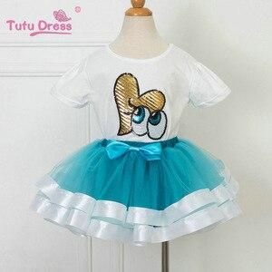 Комплекты одежды для дня рождения для девочек детский летний белый топ с блестками и фатиновая юбка с бантом для девочек, детские костюмы, к...