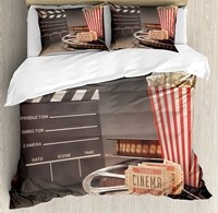 Duvet Cover Set, Old Fashion Entertainment Objects Related to Cinema Film Reel Motion Picture, 4 Piece Bedding Set