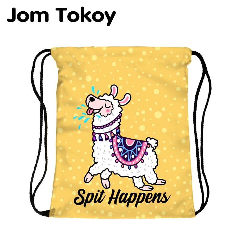 JomTokoy New Fashion Women Drawstring Backpack Alpaca Printing Travel Softback Women Mochila Drawstring Bags Skd27137