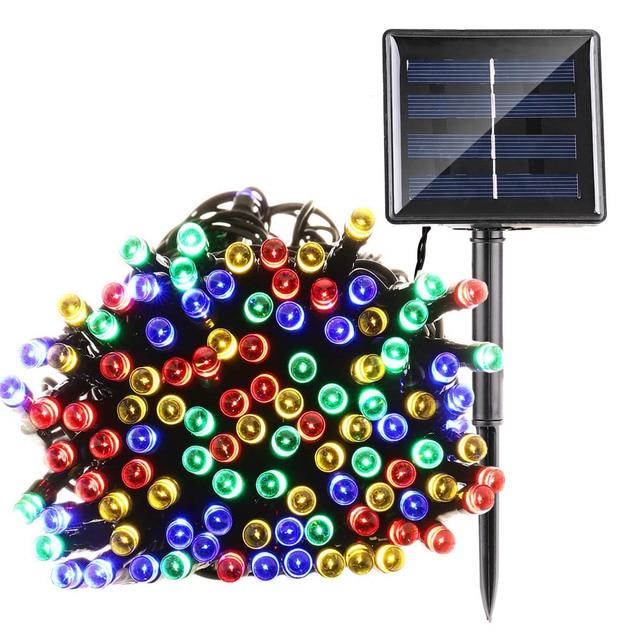 lederTEK Guirnalda de Luces 22M 200 LED Solar de Color Multi 8 Modos para Decorar Patio, Jardin, Terraza, Fiesta, Navidad, Boda [Clase de eficiencia energetica A++]