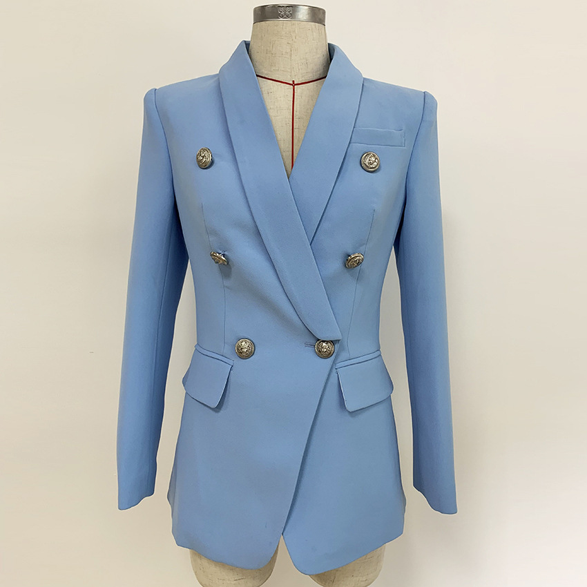 Retro Women England Style Blazers Shawl Collar Double Breasted Autumn Winter business Coats Female Solid Blue Outerwear Jackets(China)