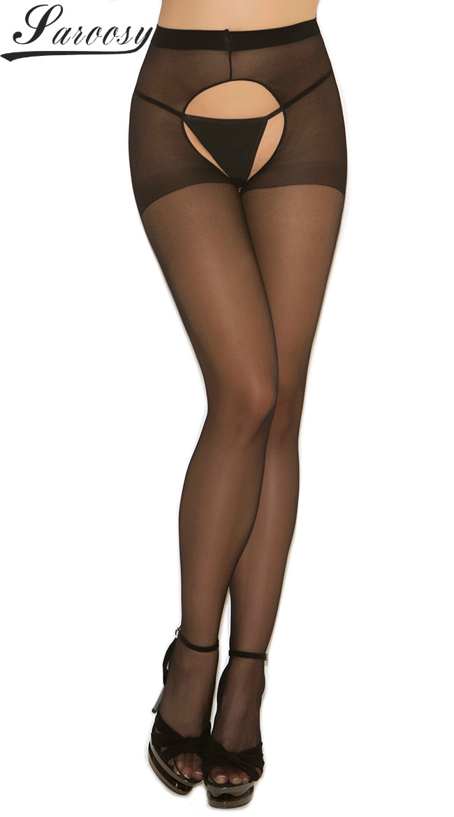 2018 New Sheer Open Crotch Tights Pantyhose Crotchless Sheer Stockings Black Lace Top Garter Sexy Women Lingerie