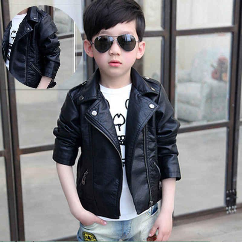 New Boy girl Jacket Children/'s Clothing Faux Leather long Jacket Coat Jacket