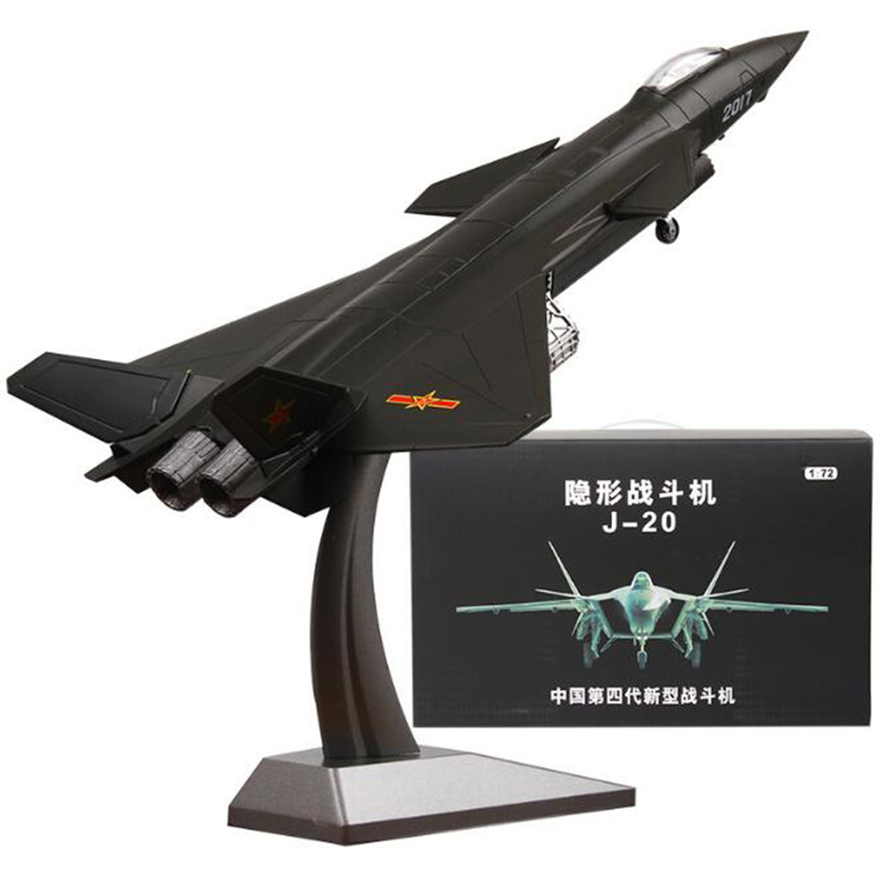 1:72 Black Stealth Jet Alloy Fourth Generation Fighter Plane 20 J20 Static Simulation Aircraft Model Toy Static Model MEMORIAL