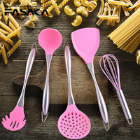 FASAKA Stainless Steel Handle Silicone Cooking Tools 5pcs Pink Black Kitchenware Heat Resistant Kitchen Utensils Accessories Kit