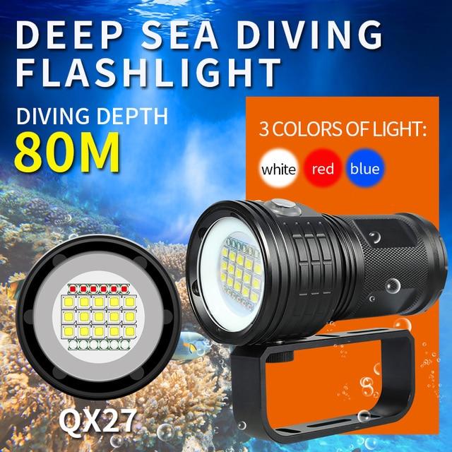 Diving Lanterna Flashlight 18650 Torch Underwater 80m Photography Light Video Lamp  L2 White Red Blue LED Scuba Photo Fill light