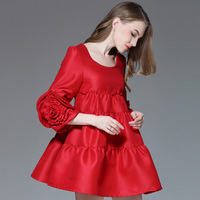 Large Size Feminine Dresses For Spring Red Formal Dress 2018 New Loose Style For Pregnant Plus