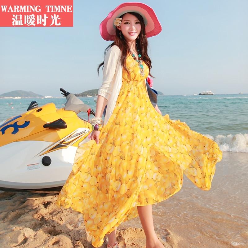 Long time holiday beach dress chiffon dress v neck mop the floor condole belt dress long