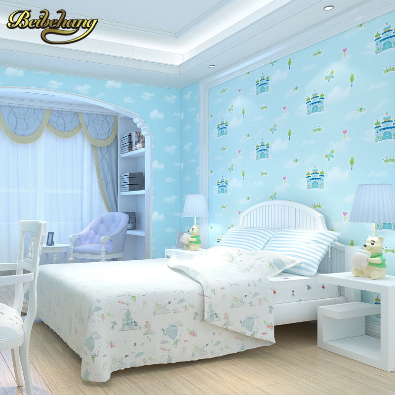 beibehang castle cartoon wall paper roll for children's room men and girls non-woven bedroom wallpaper for walls 3 d living room linea di sette пинетки зайка