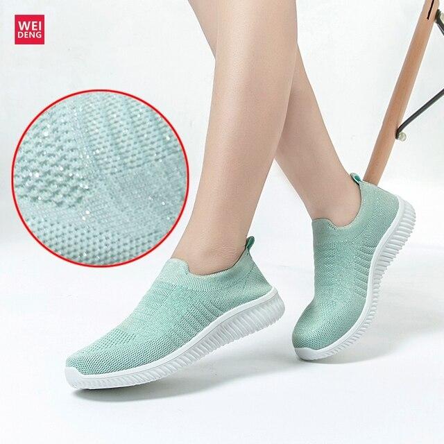 Weideng Knit Calzino Scarpe Scarpe Air Mesh Mocassini Ultra Morbido Scivolare sulle Donne Piatto Fly Prime Lavorato A Maglia Traspirante Tenis Unisex Moda calzature